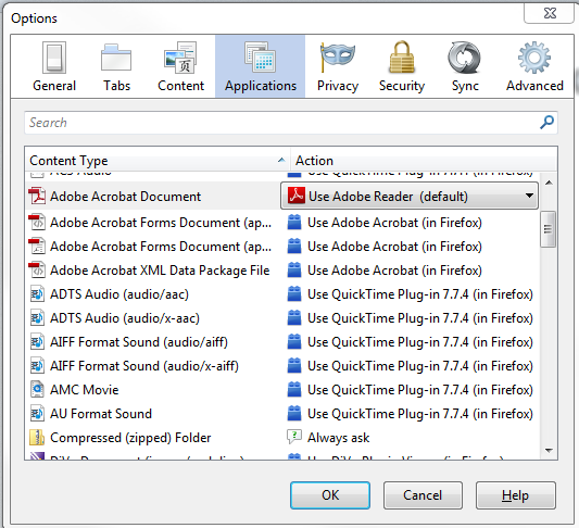 how to change default opening of document to adobe reader